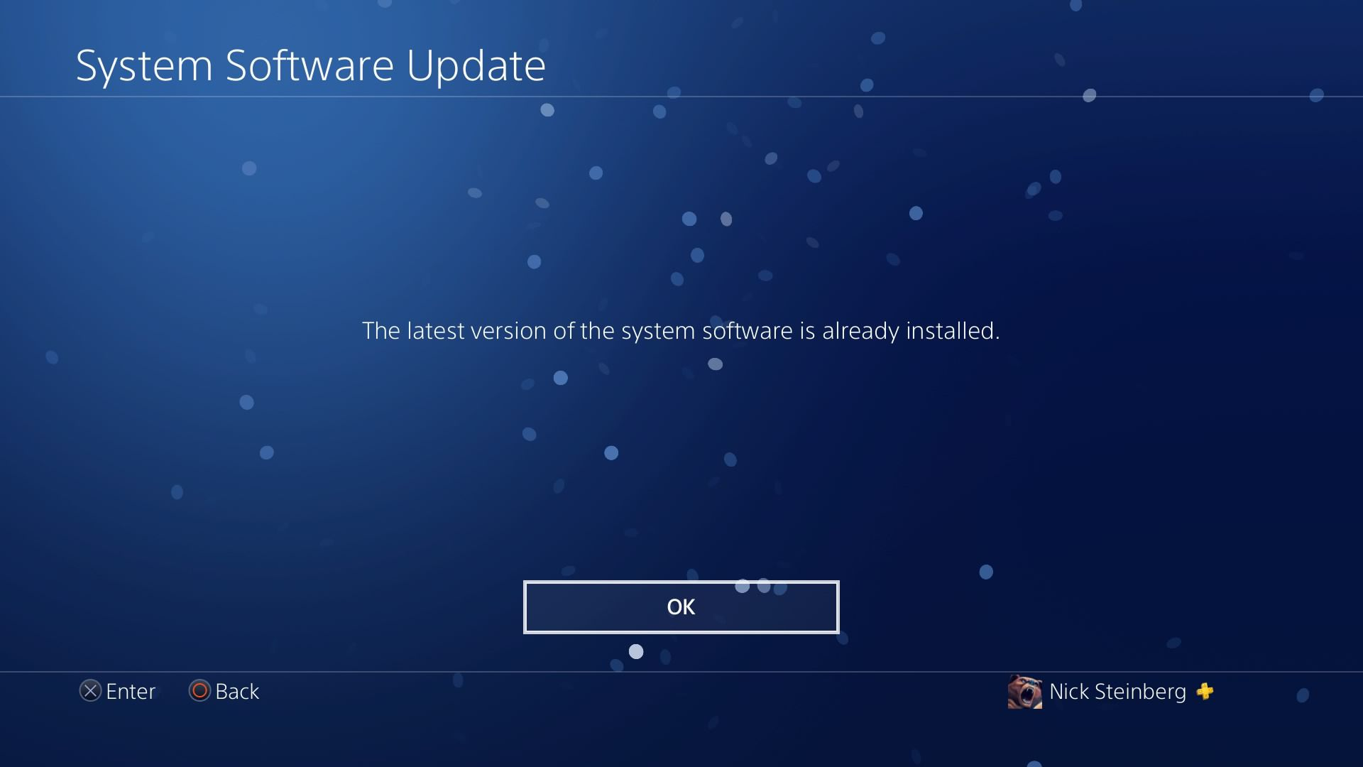 System Software Update screen on PS4.