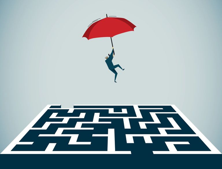 Illustration of man floating into a maze with an umbrella
