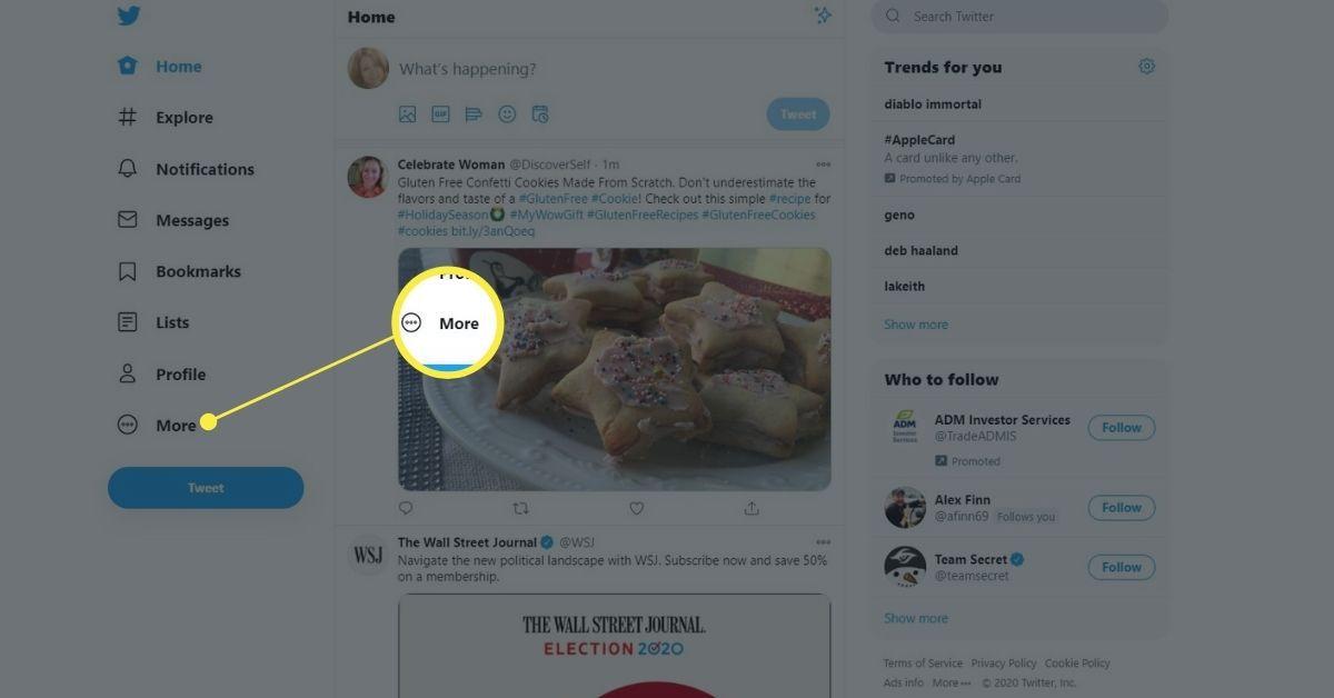 More in Twitter menu