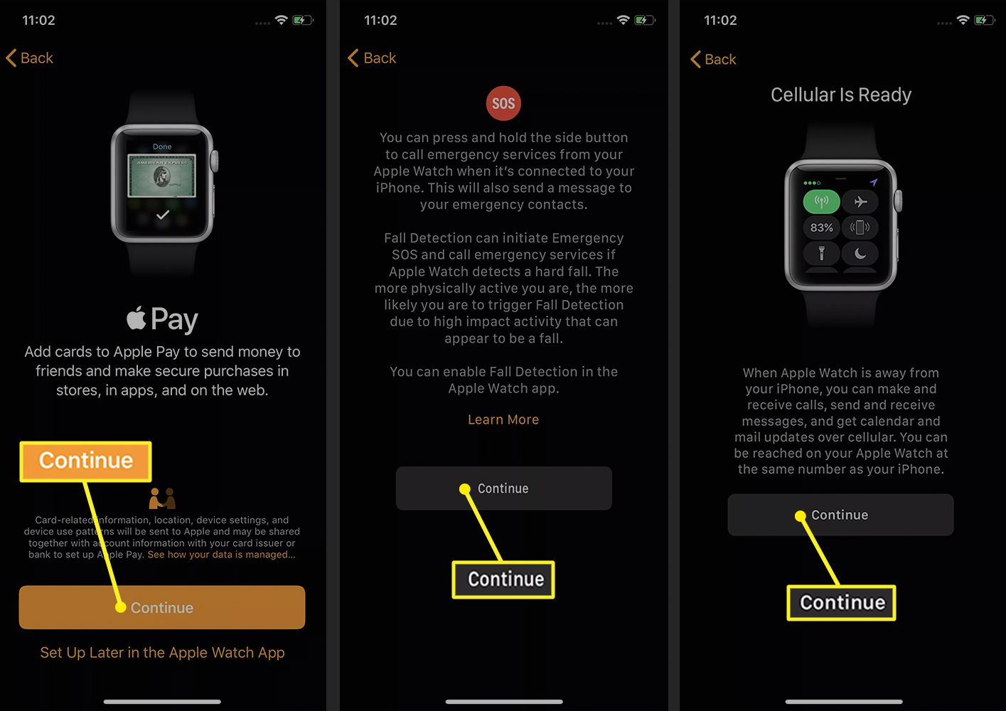 Watch app on iPhone showing steps to setting up the Apple Watch