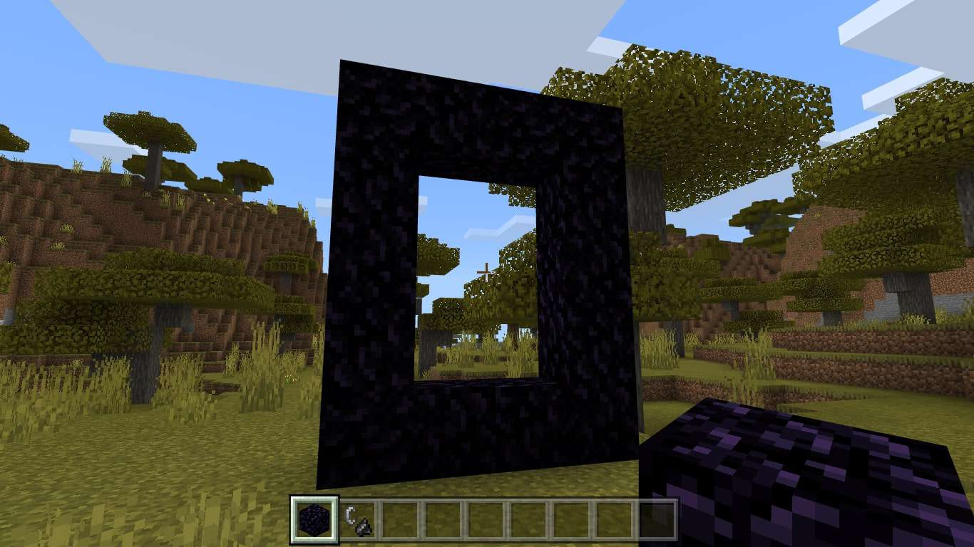 Place two obsidian between the edges of the vertical blocks to connect the frame.