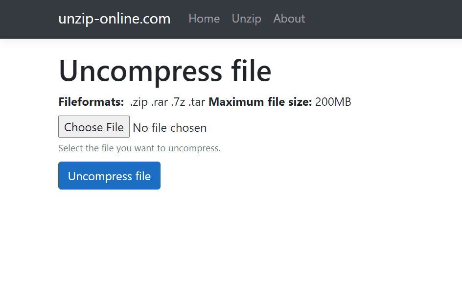 Screenshot of the Unzip-Online uncompress file web page