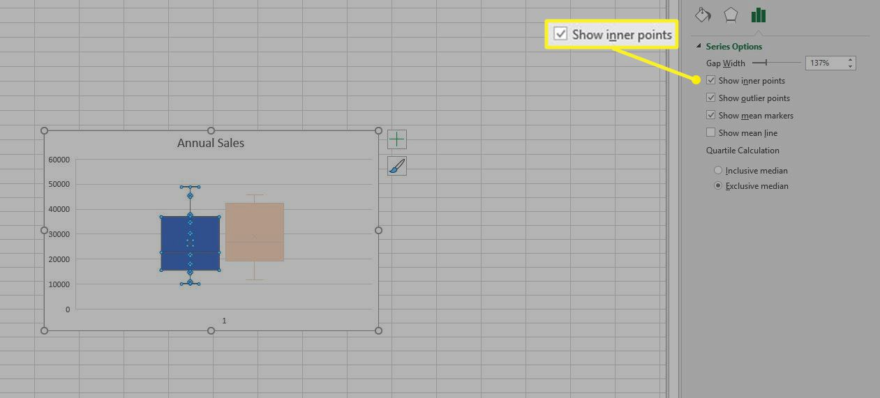 Show Inner Points highlighted in Excel
