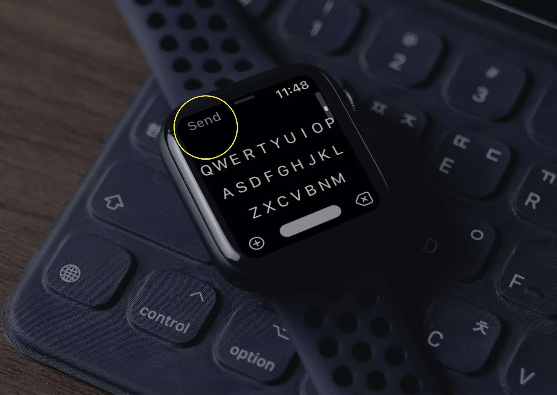 FlickType keyboard on Apple Watch.