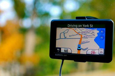 A GPS navigation unit in a car
