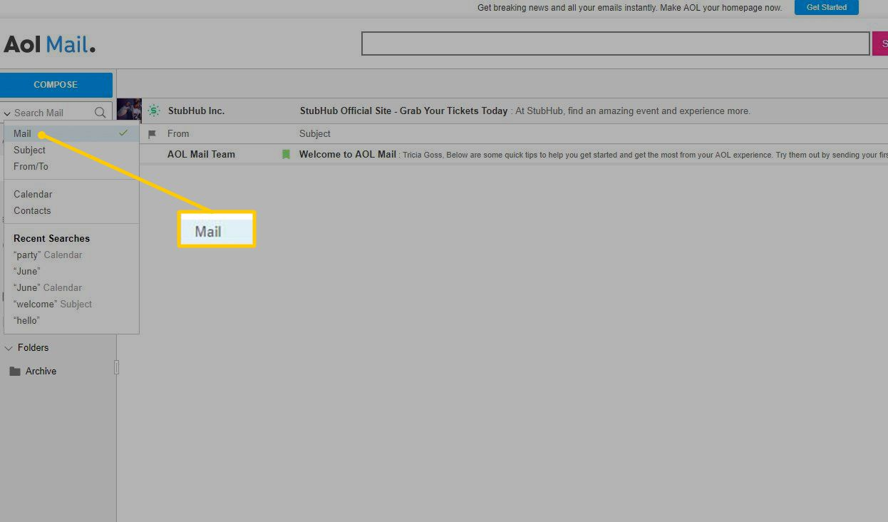 How to Search Email in AIM or AOL Mail