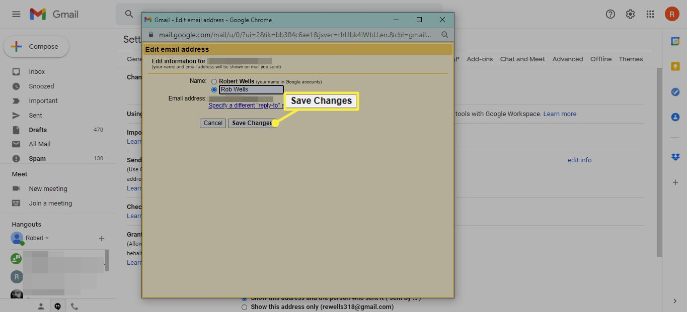 Save Changes button in Gmail