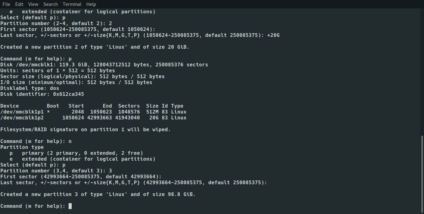 Linux fdisk create remaining partitions