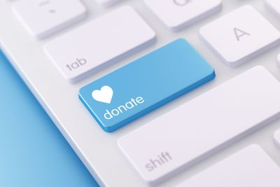 Modern White Keyboard with Donate Button