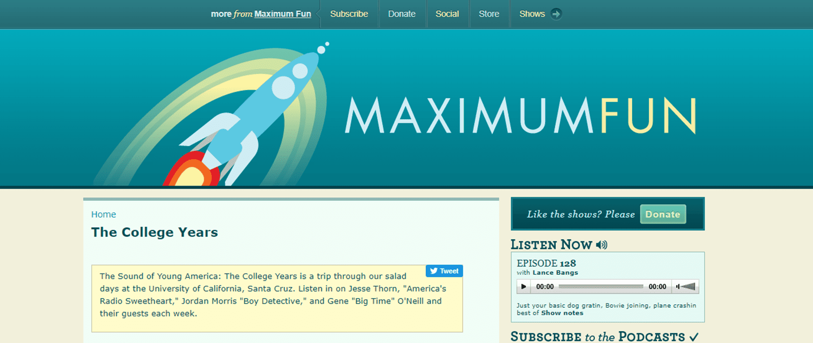 Screenshot of the Maximum Fun website, which is home to the Sound of Young America podcast screenshot