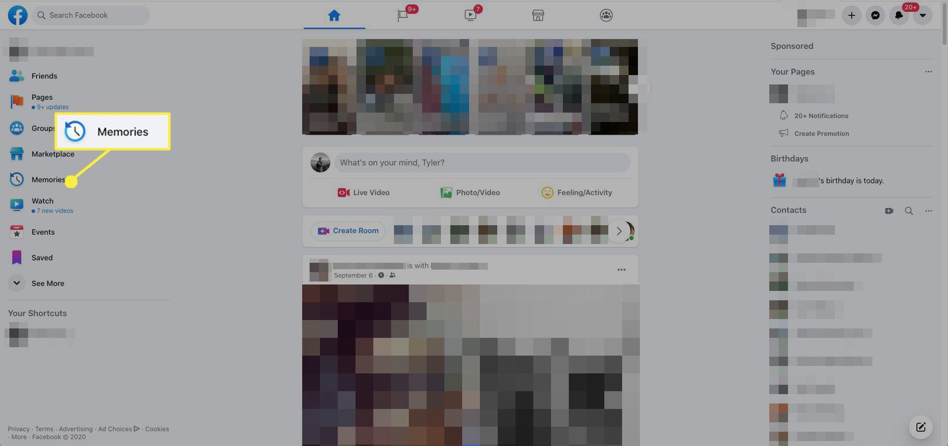 In Facebook, select Memories from the left menu