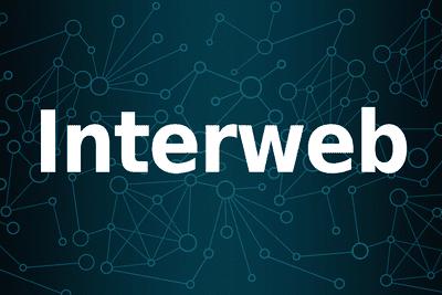 white interweb text on blue background