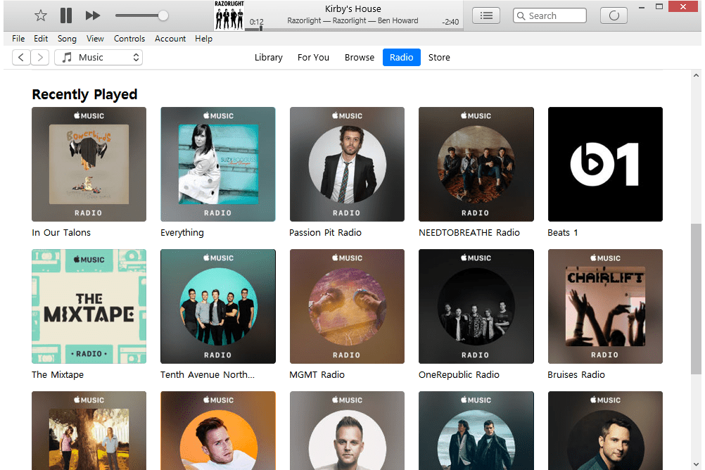 Apple Music Radio tab