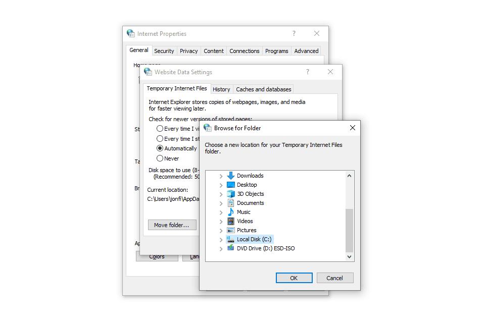 Browse for Folder window in Internet Properties for Windows 10