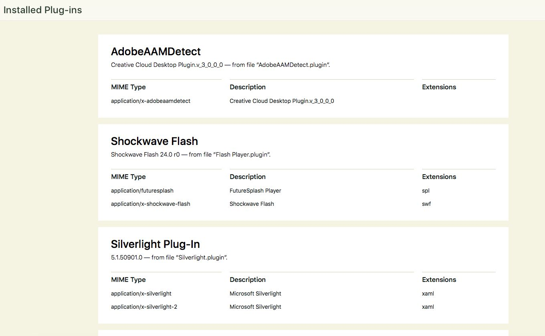 List of Plug-ins installed in Safari