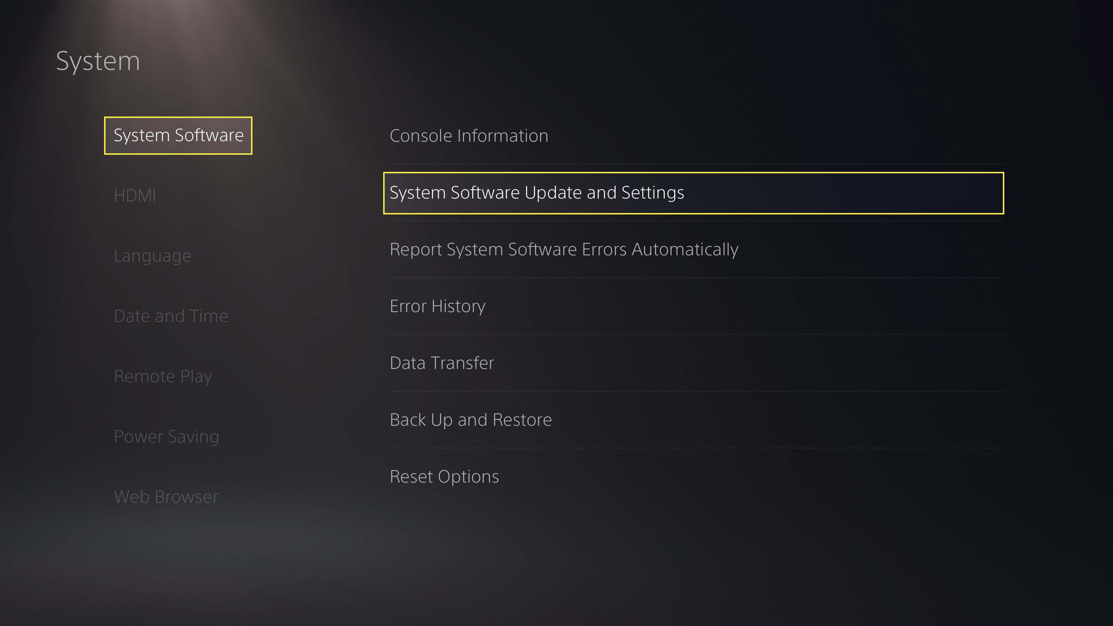 Selecting System Software Update and Settings under PS5 system settings.