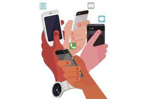 Illustration of four hands using smartphones
