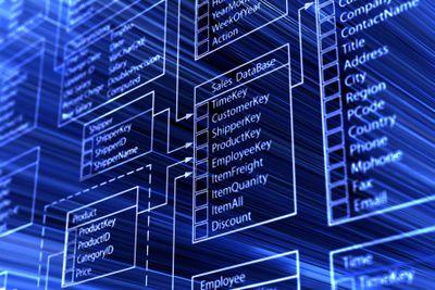 Stylized database flow chart