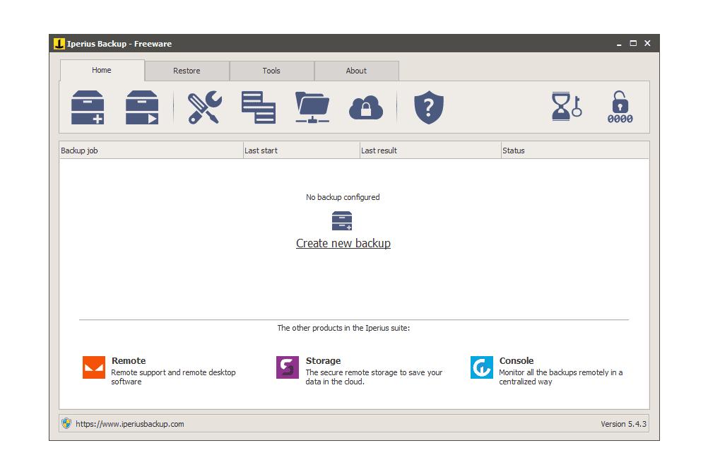 Iperius Backup v5.4.3 in Windows 10