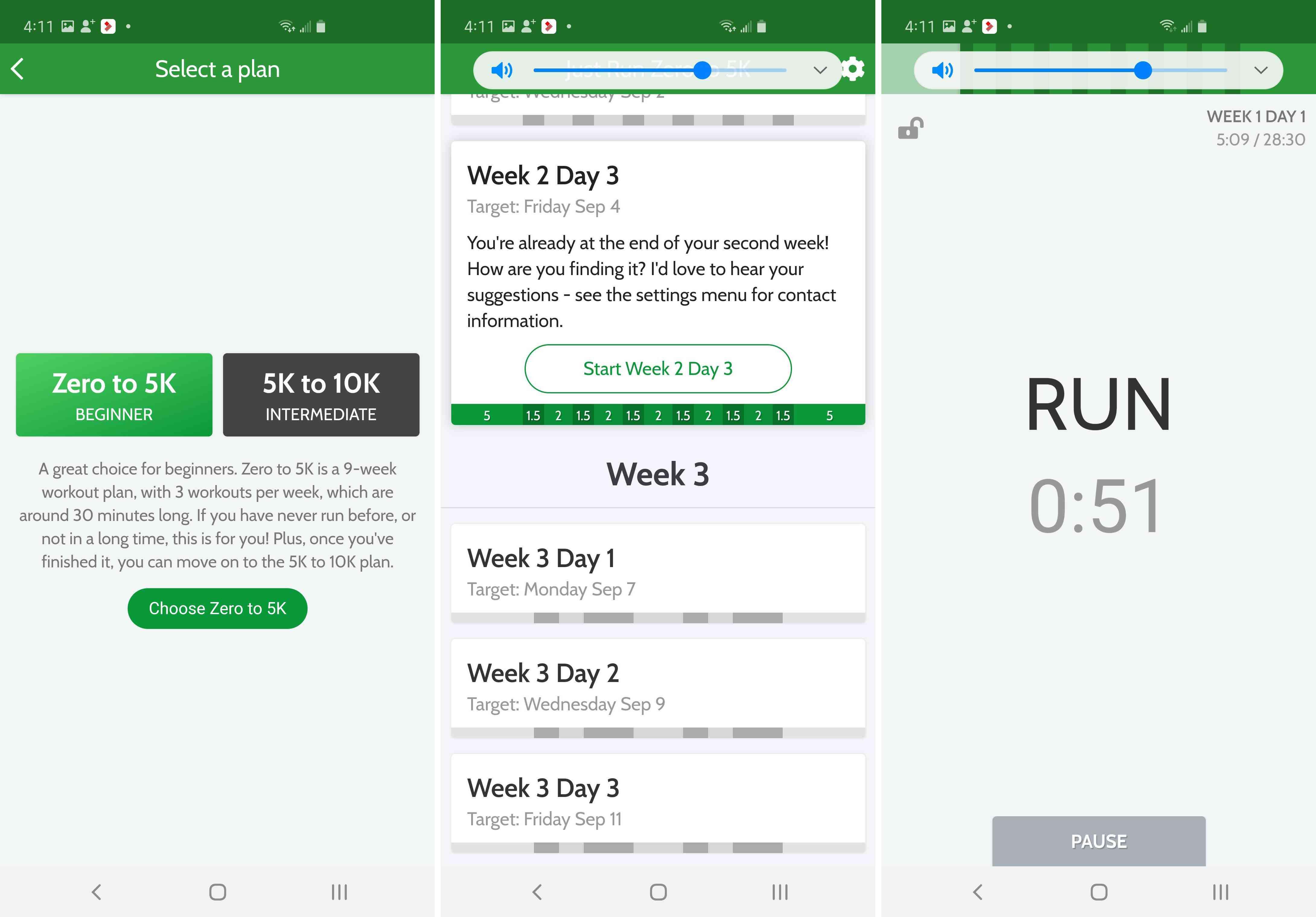 Three views of the Just Run app