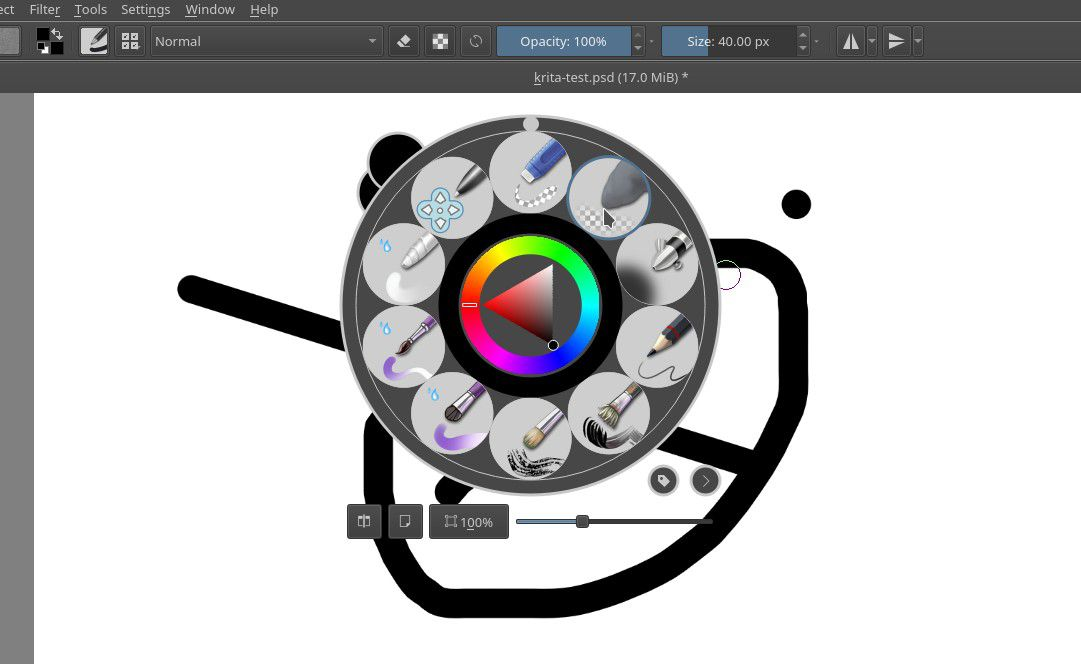 Krita's Pop-Over Tool for Selecting Colors and Brushes