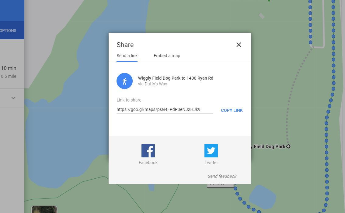 Share link options for Google Maps pin