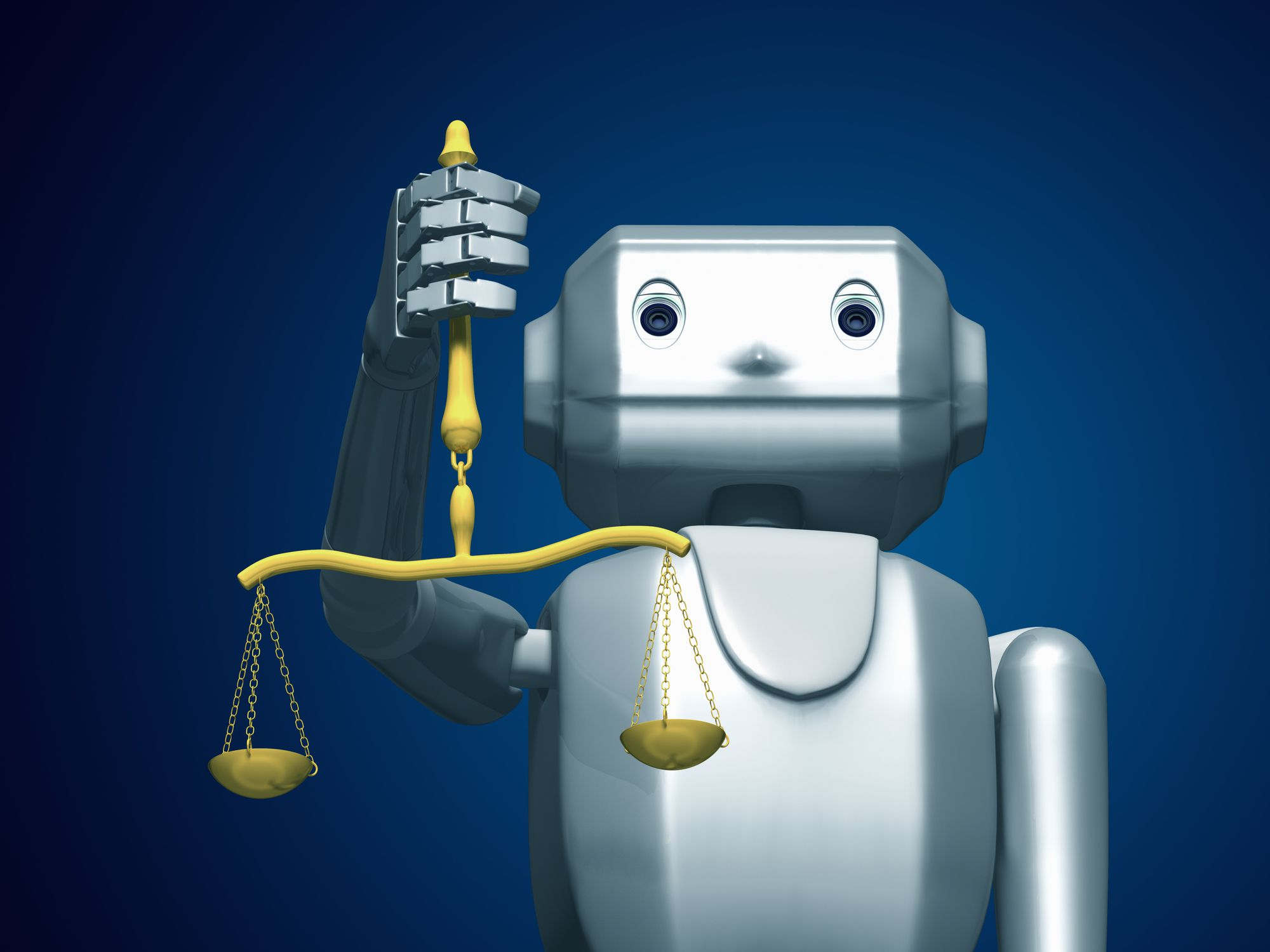 A robot holding the scales of justice.