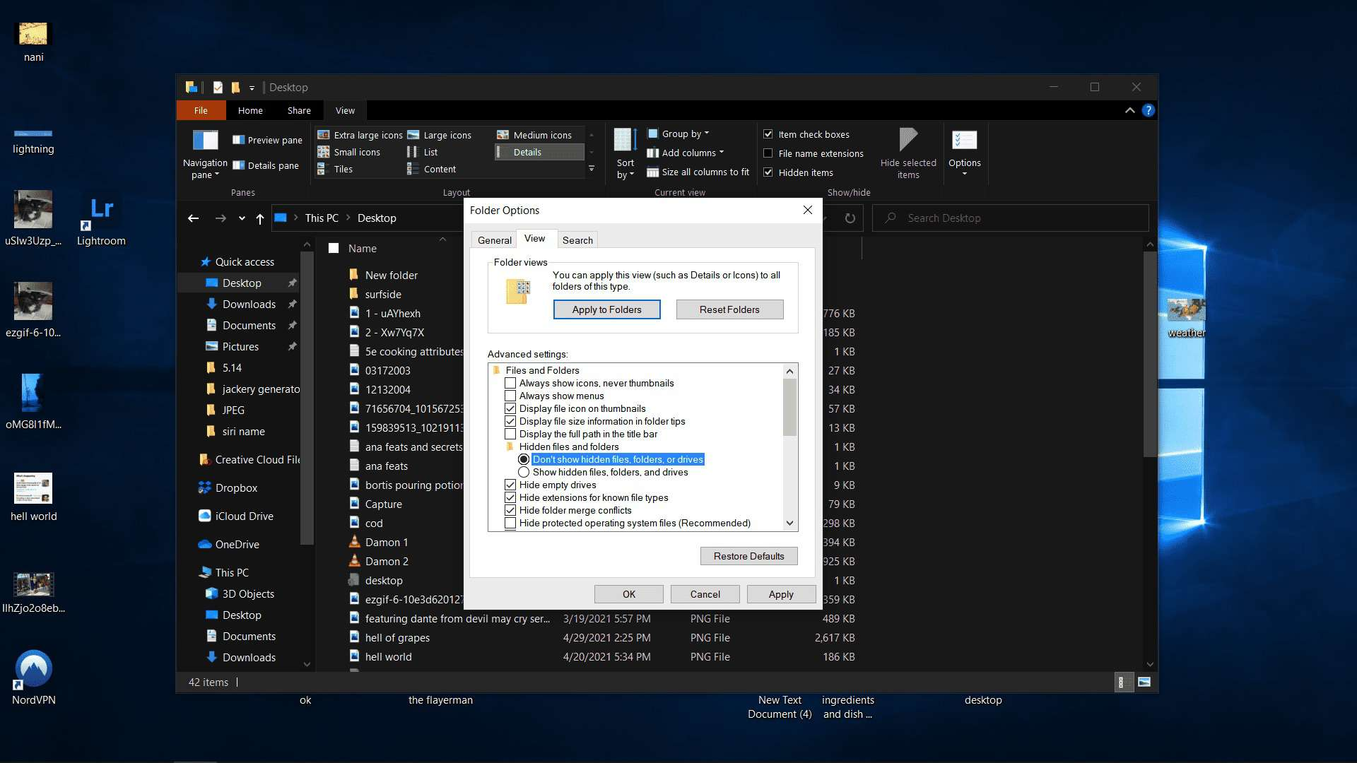 Don't show hidden files, folders, or drives highlighted.
