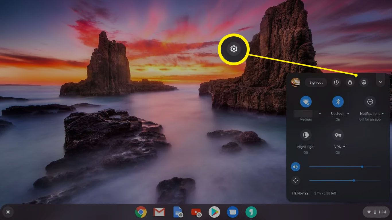 Settings in the Status area in Chromebook.