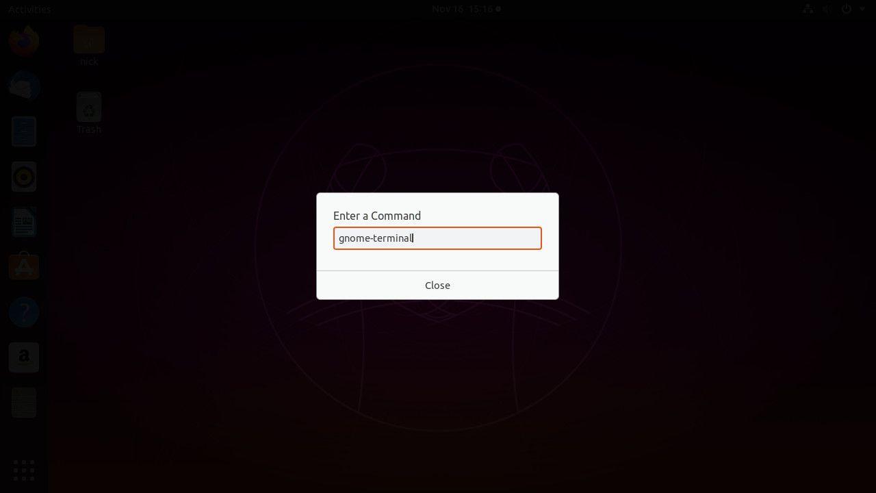 Ubuntu run command launch terminal