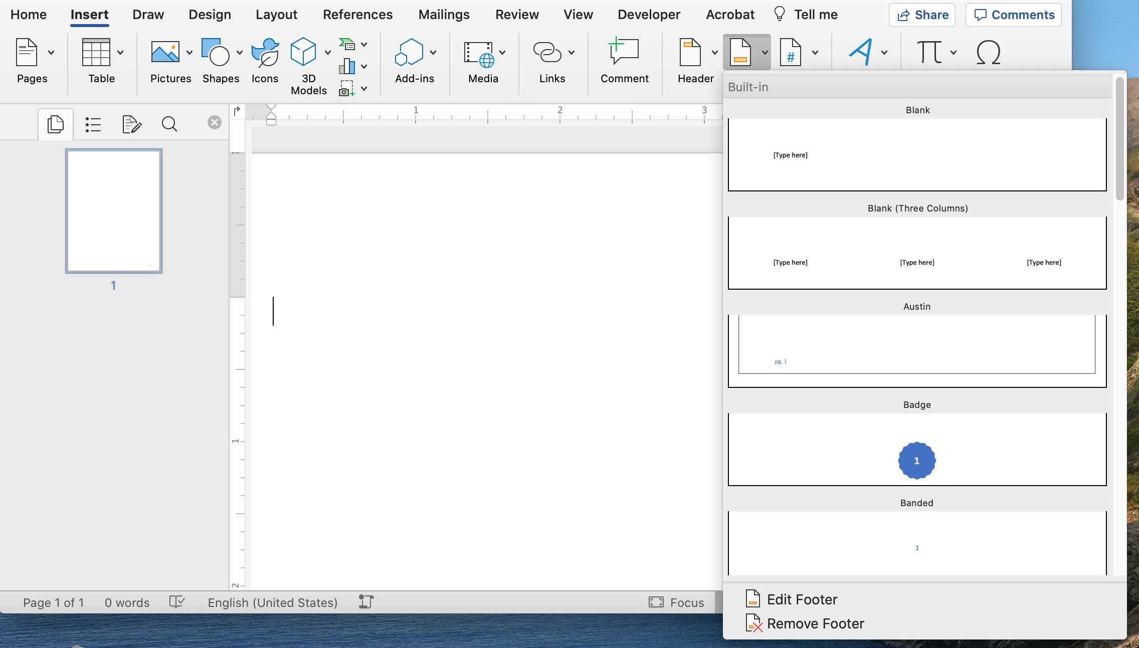 Footer formatting options in Microsoft Word