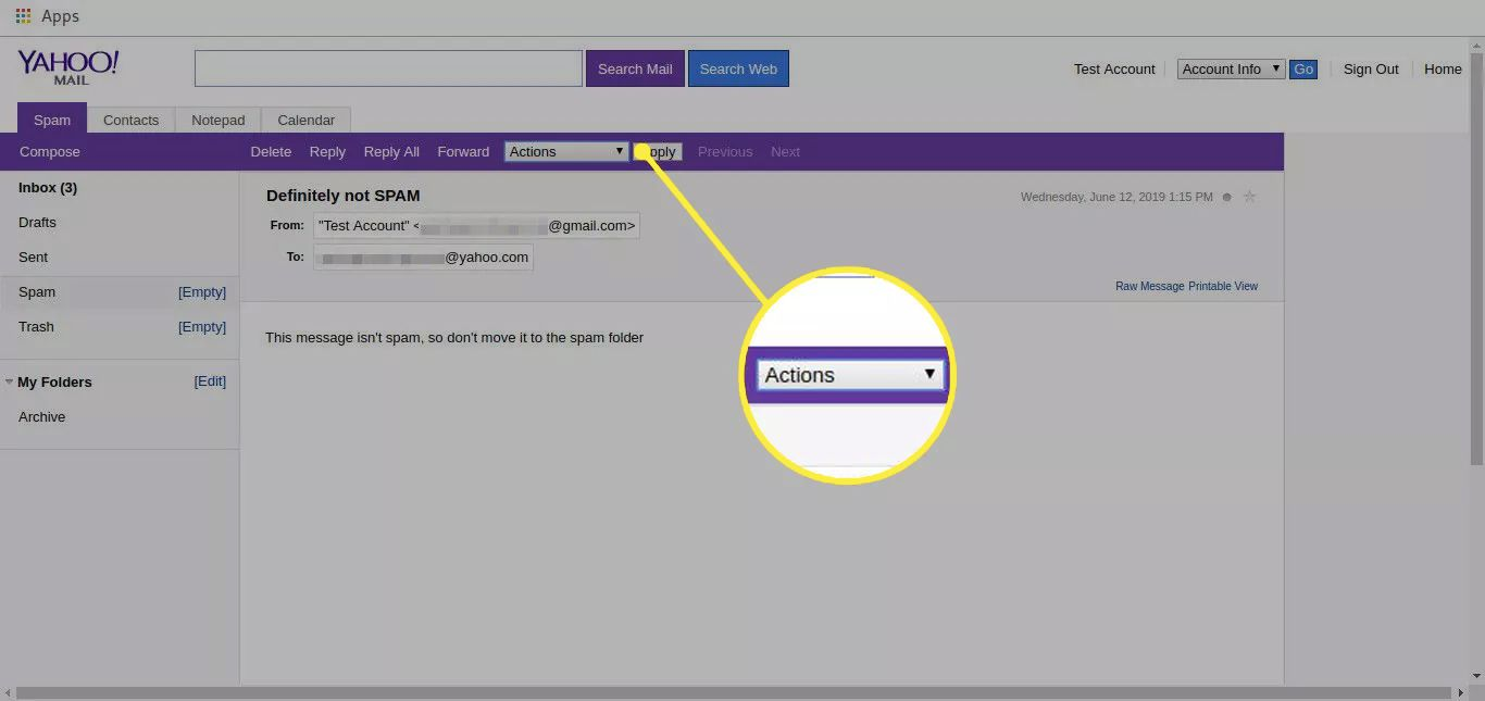 Yahoo Mail spam folder with the Actions menu highlighted