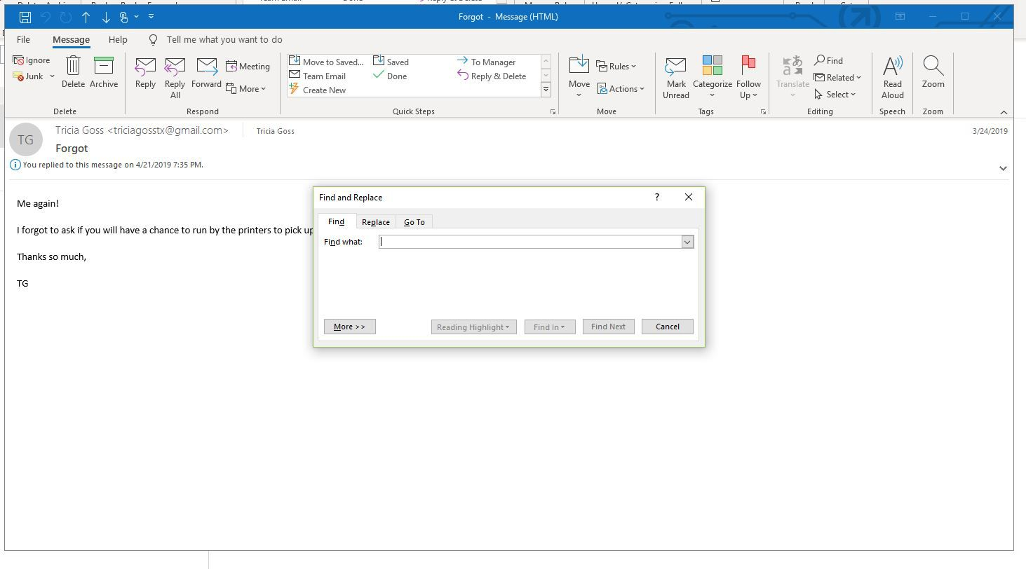 Screenshot of Find in message