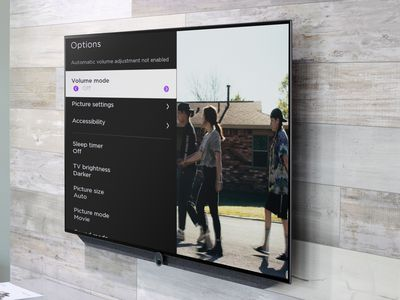 The Volume mode highlighted from the Options menu on a wall-mounted Roku TV.