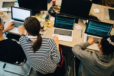 Group of web developers working together