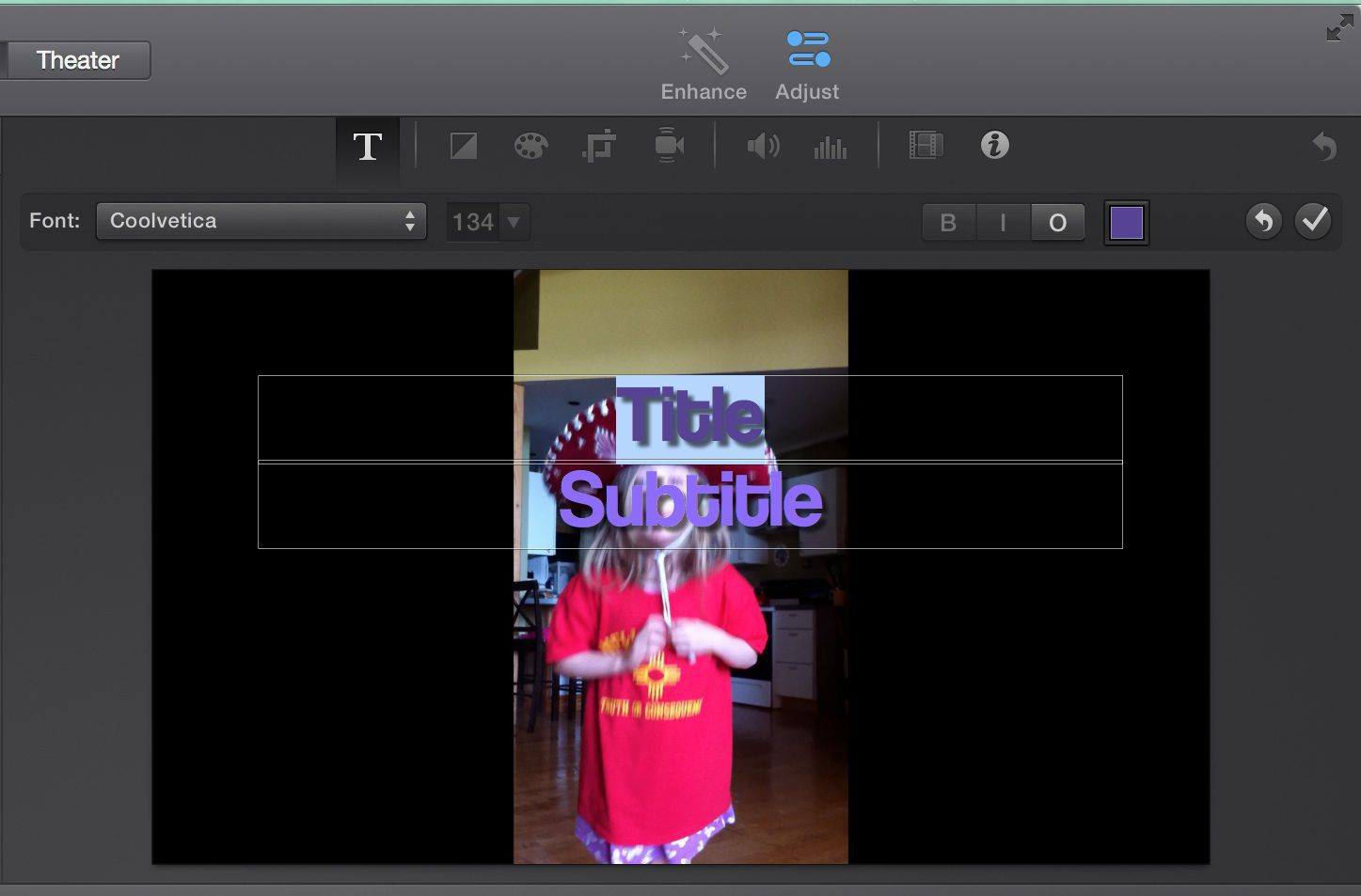 Editing titles in iMovie