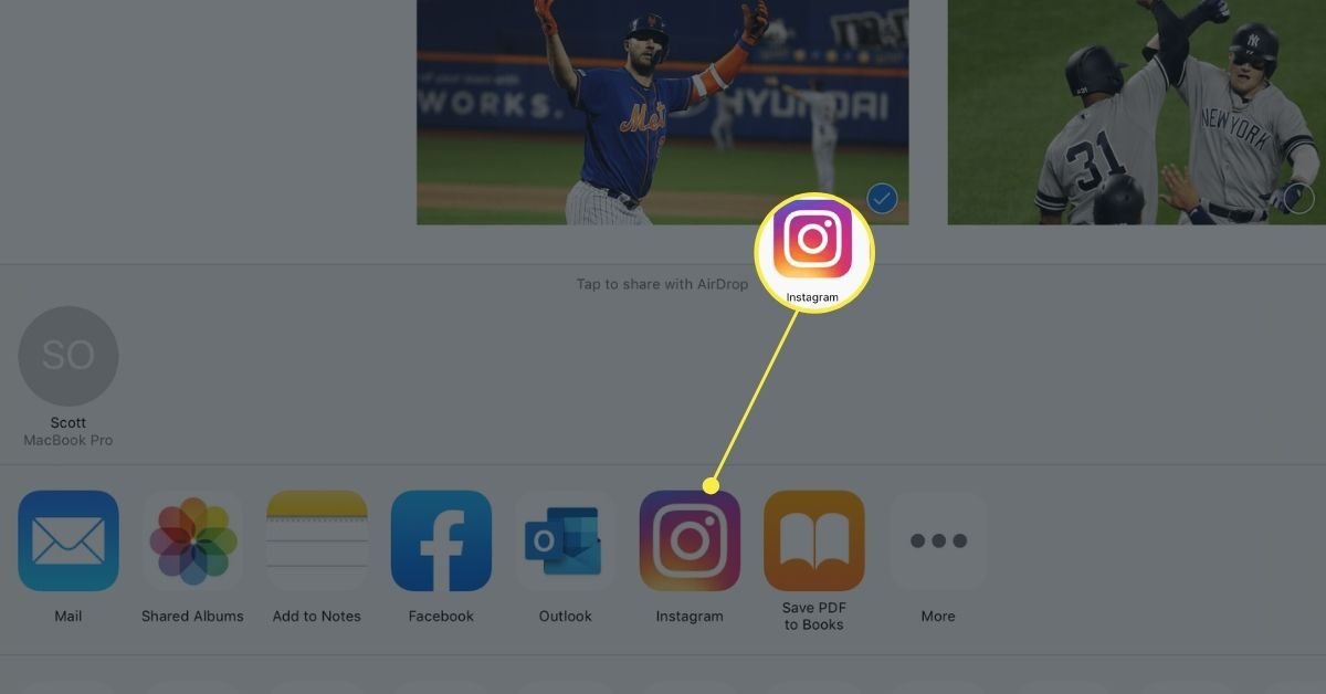 The iOS Share Sheet with Instagram option available