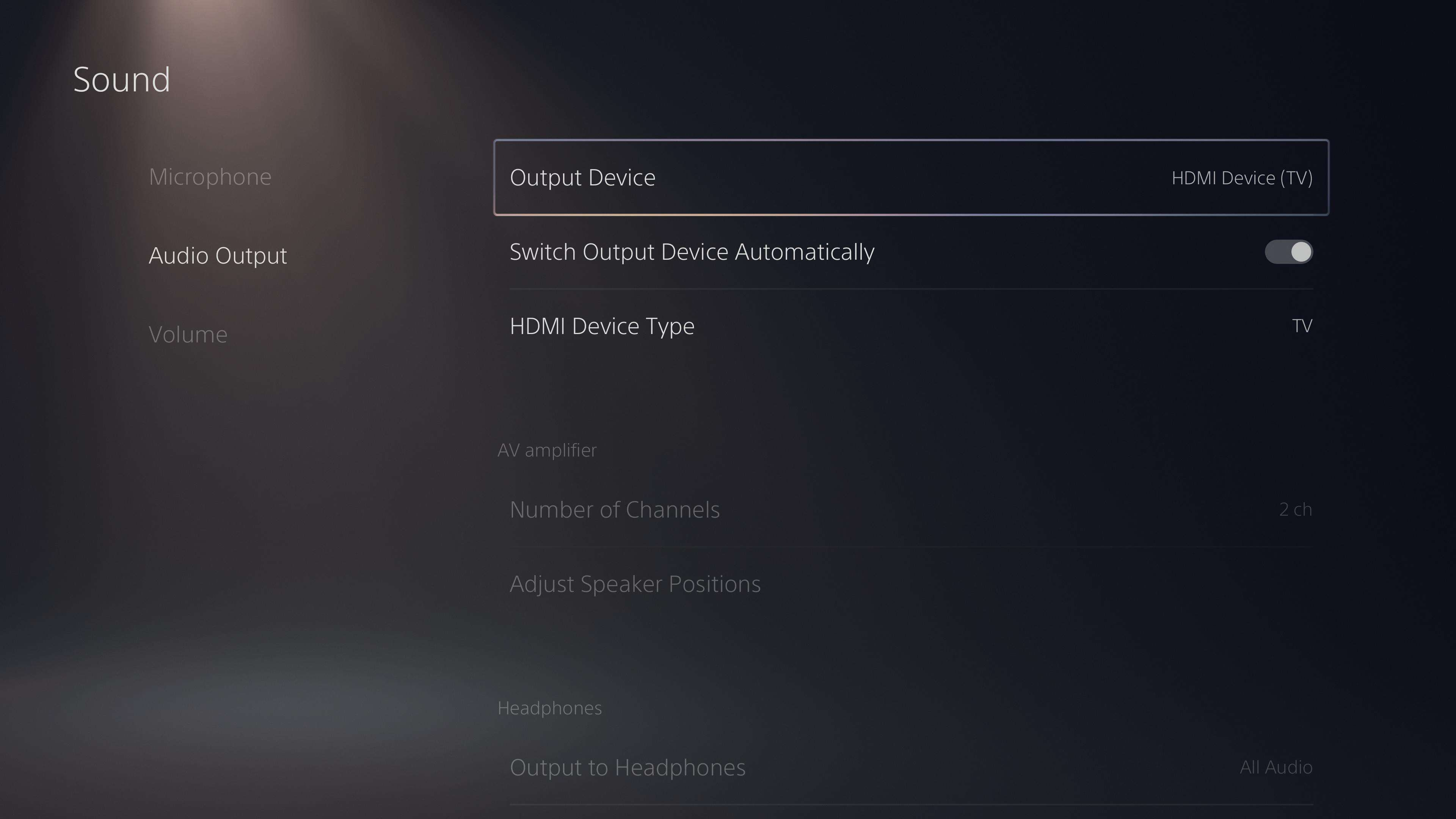 Output Device in the Audio Output menu