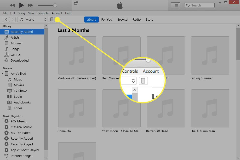 iTunes with the Device Icon highlighted