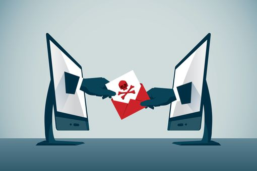 Illustration representing malware moving from one computer to another