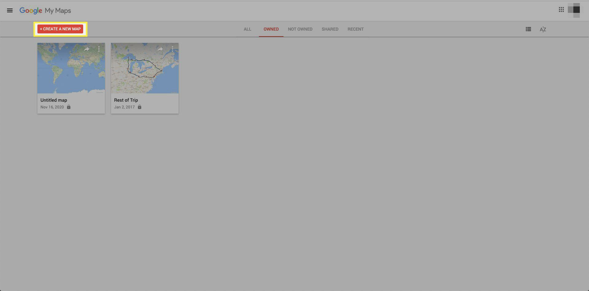 Google My Maps create new map
