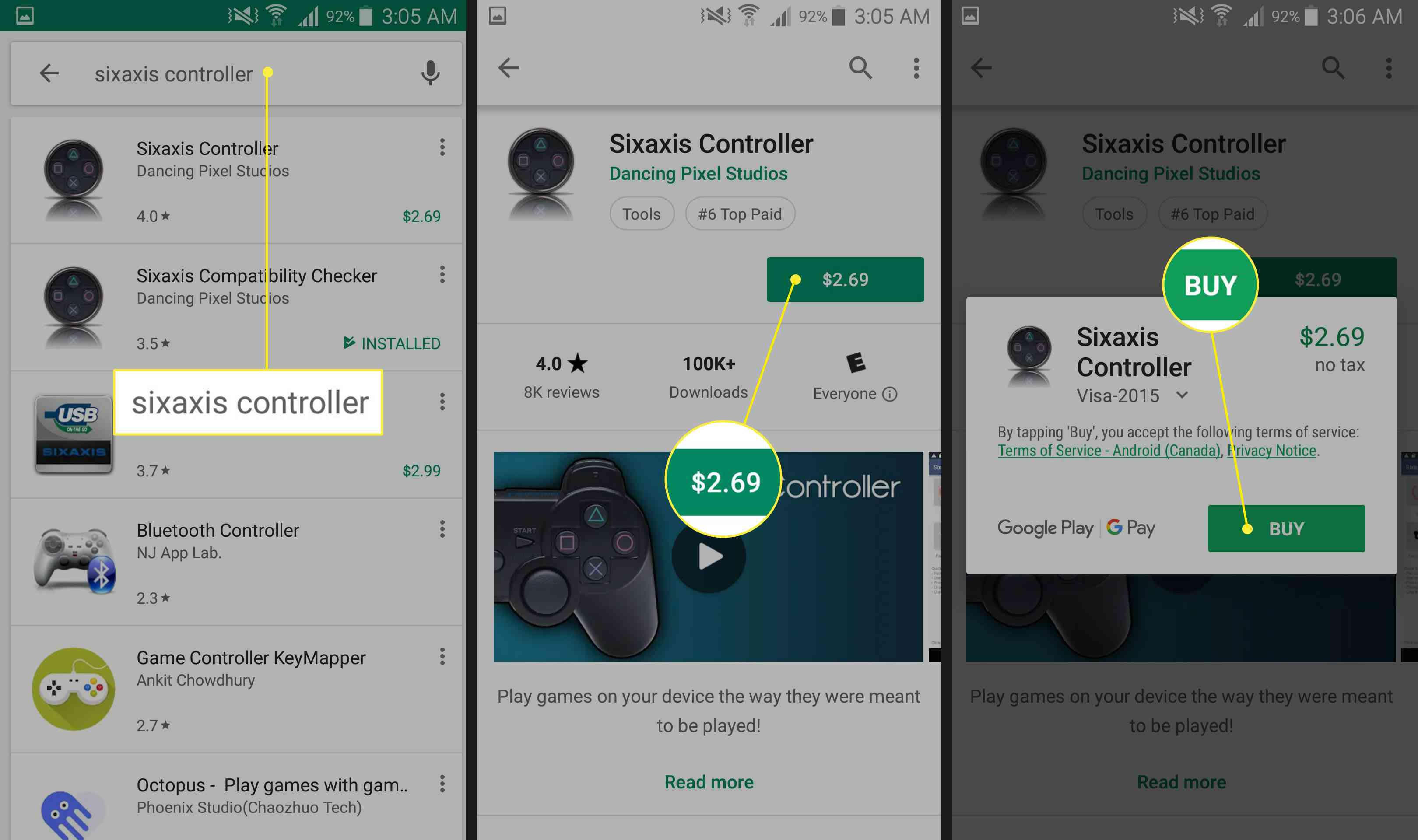 Sixaxis Controller's Play Store page.