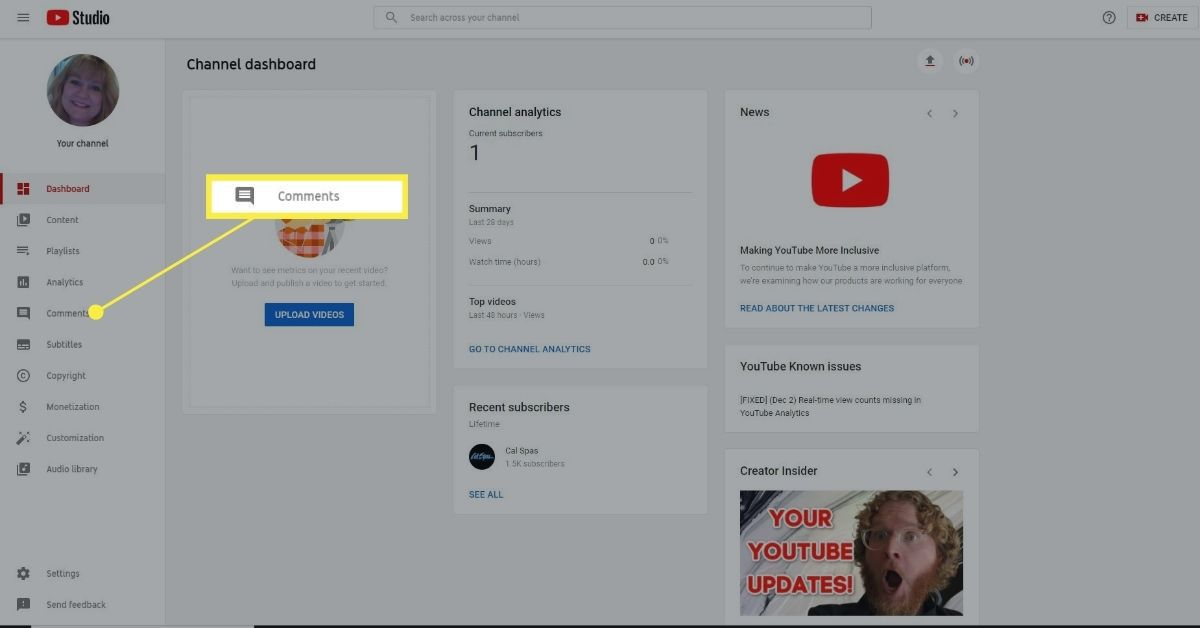 Comments in YouTube Studio