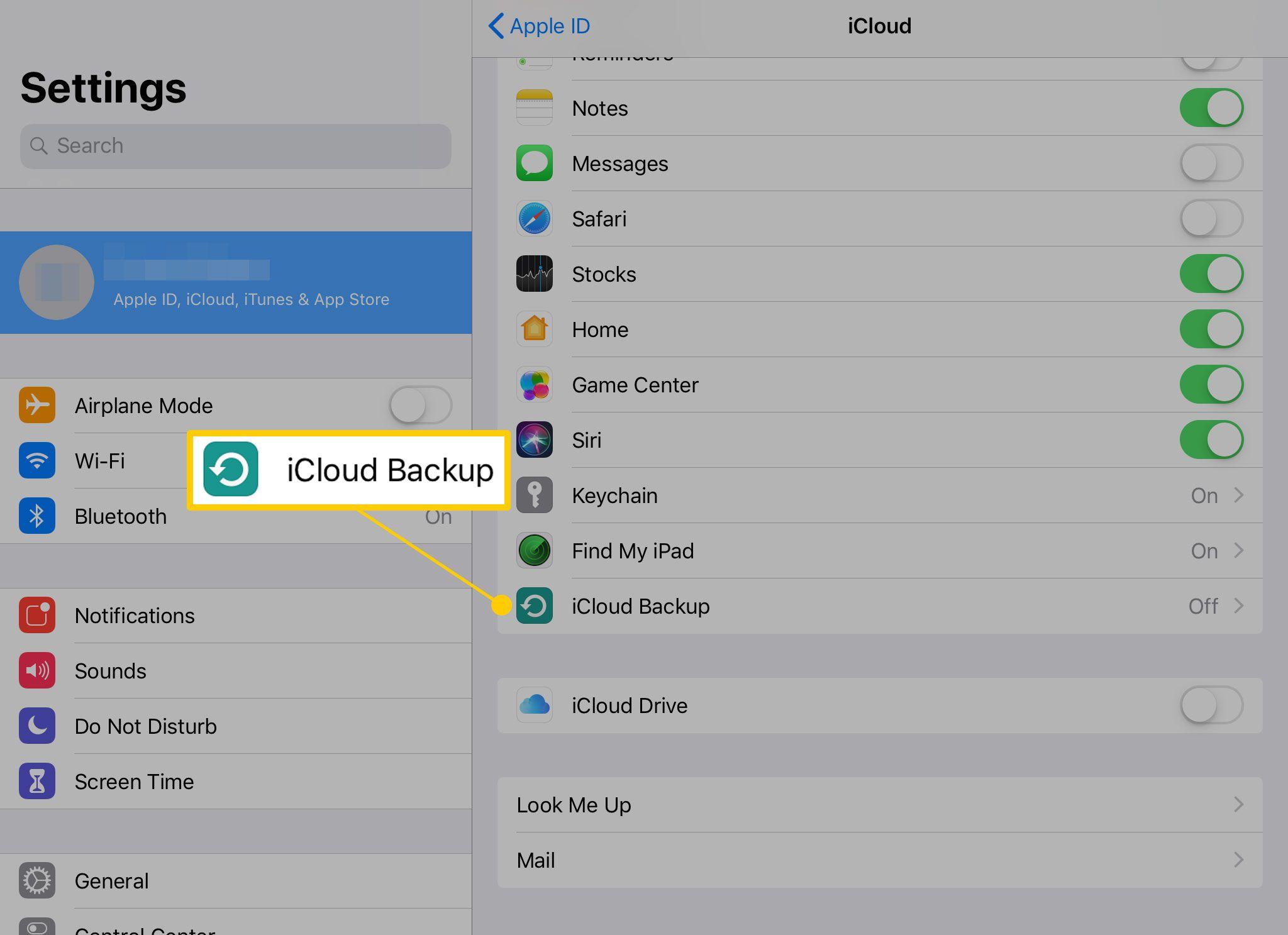 iCloud Backup on iPad