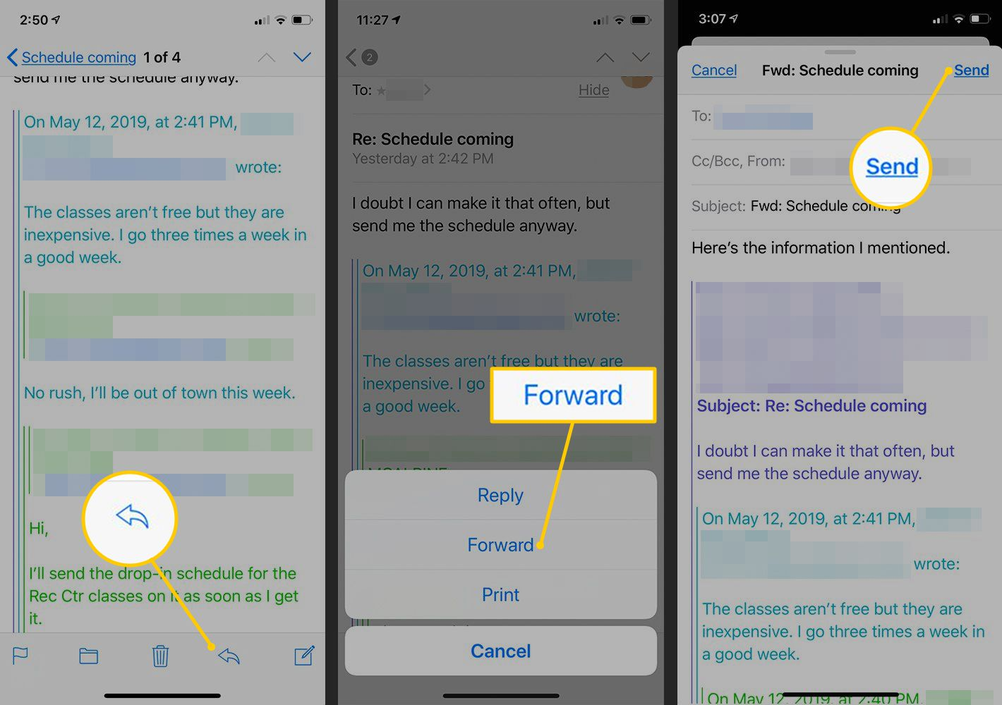 How to Indent Text or Decrease Quote Level in iPhone Mail