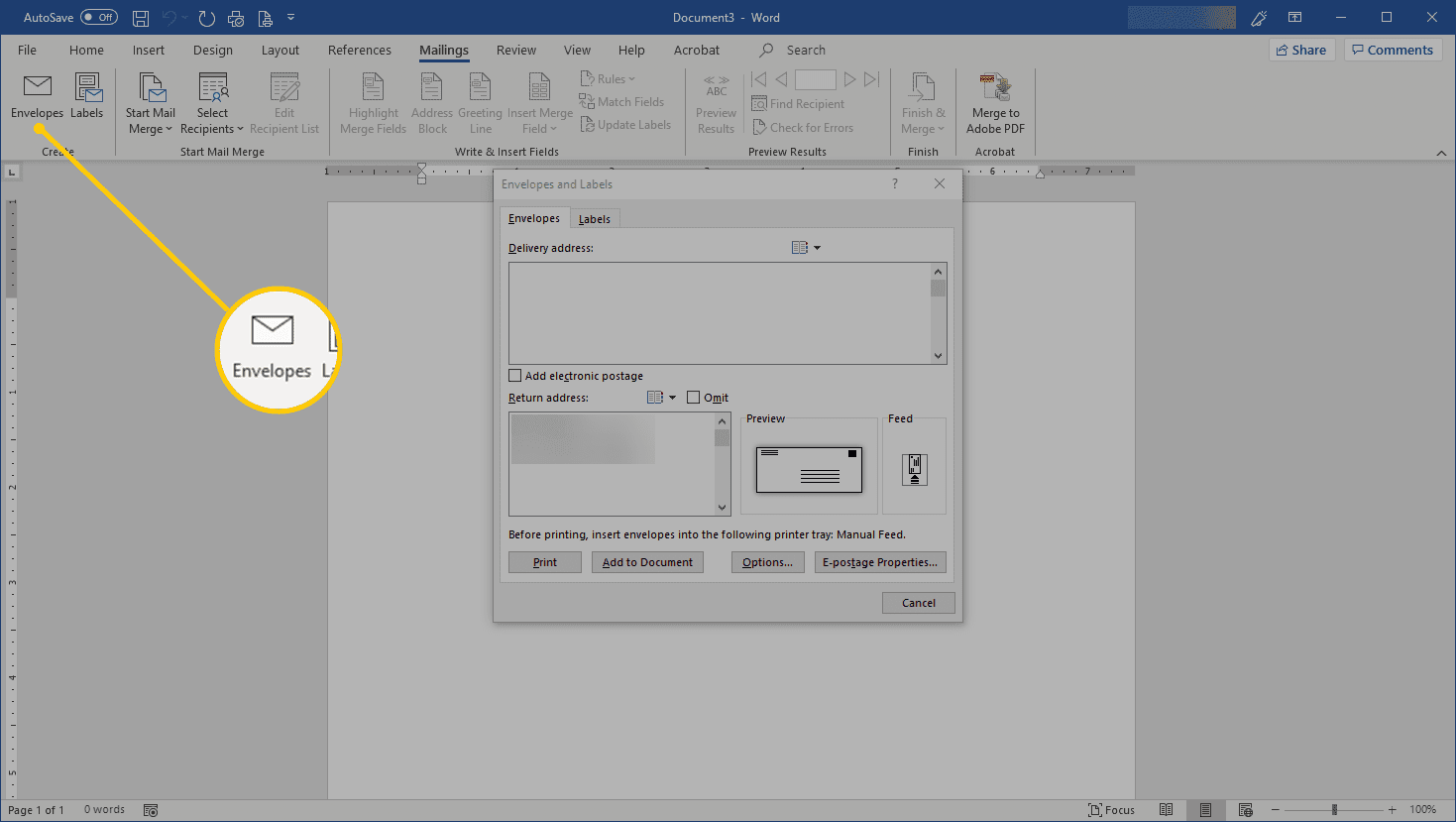 Envelopes button in Word