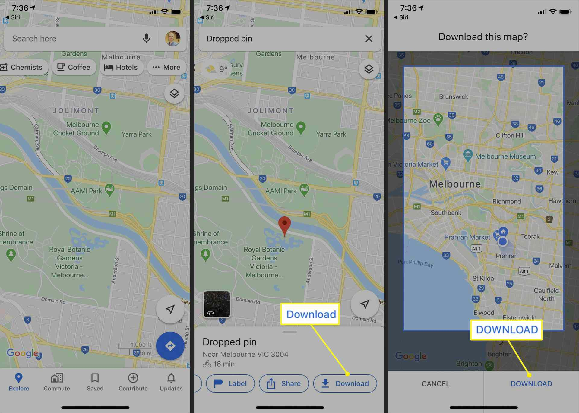 Downloading offline maps in Google Maps on iPhone