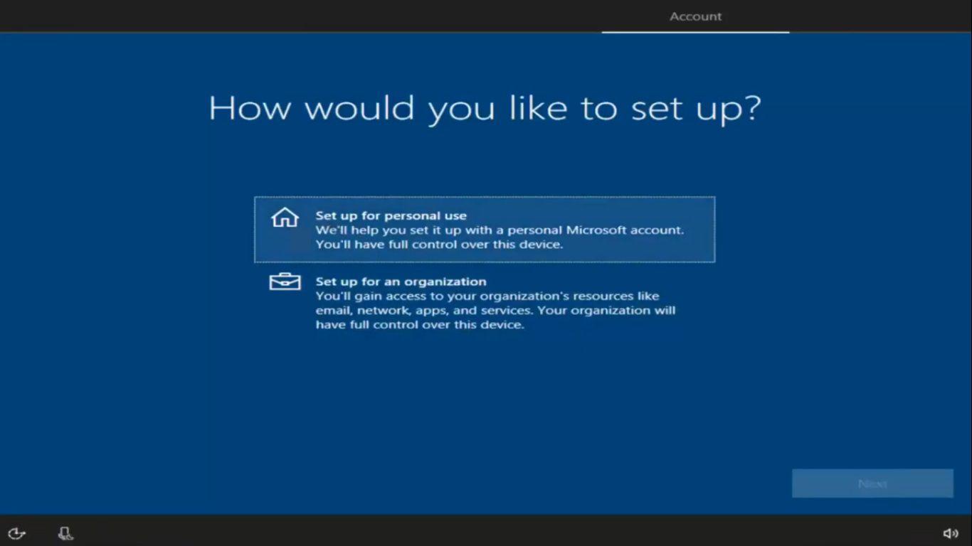 The setup menu for Windows 10