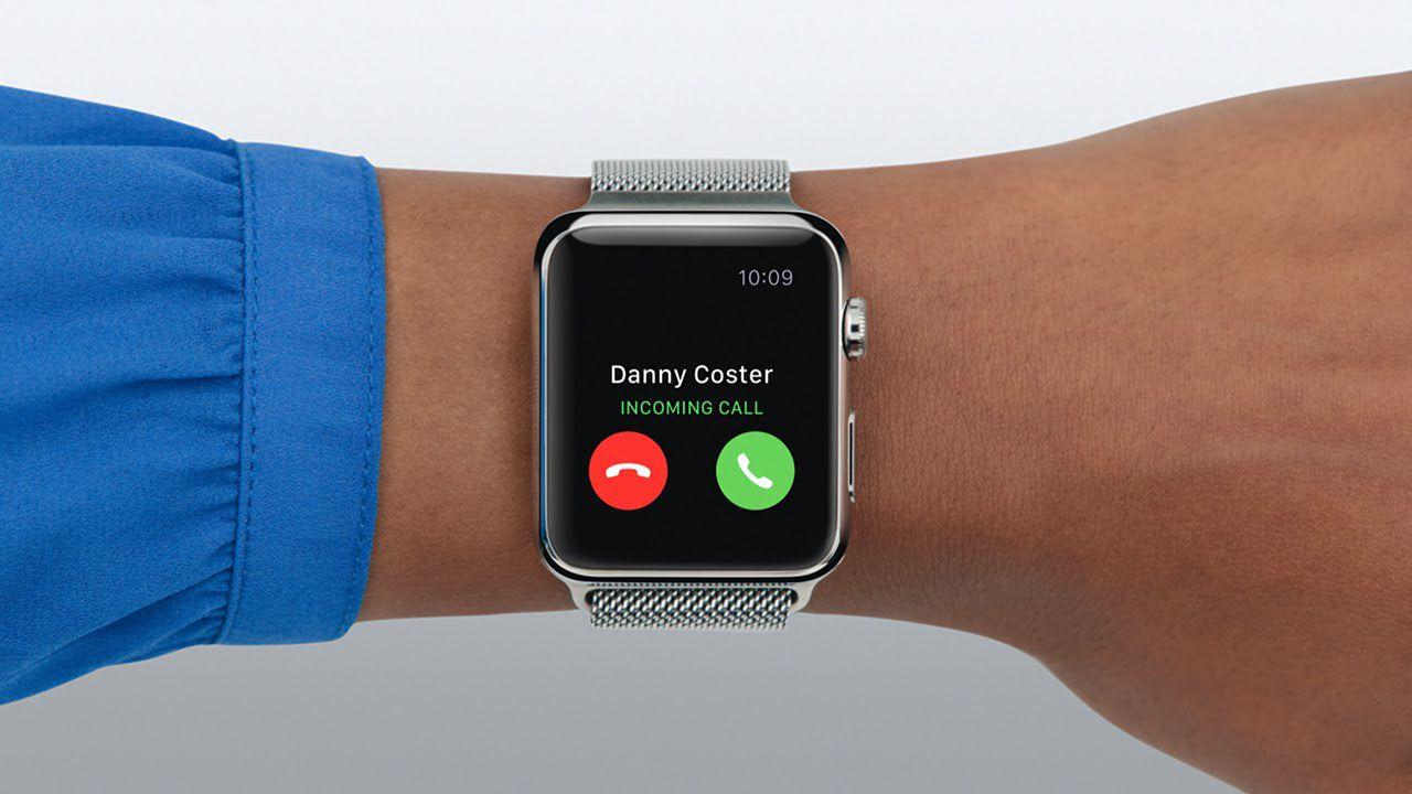 Apple Watch on wrist receiving a phone call
