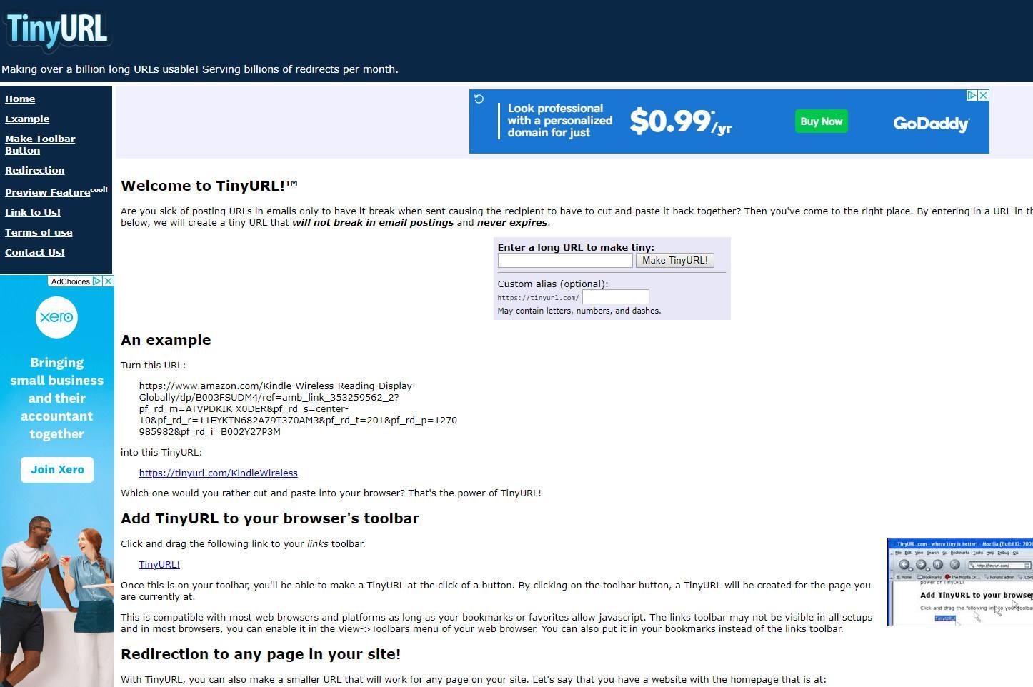 TinyURL website screenshot